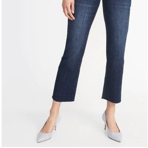 Old Navy | Raw-Edge Cropped Flare Ankle Jeans